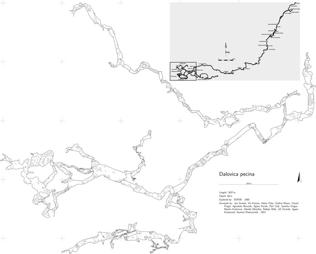 Plan jaskini - partie zmierzone w 2014r.
