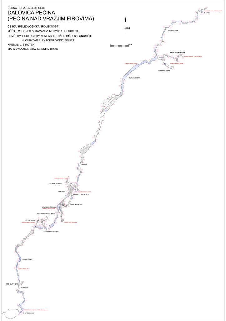 Plan jaskini - partie za syfonami
